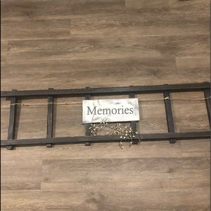 Handmaid wood ladder picture frame sign